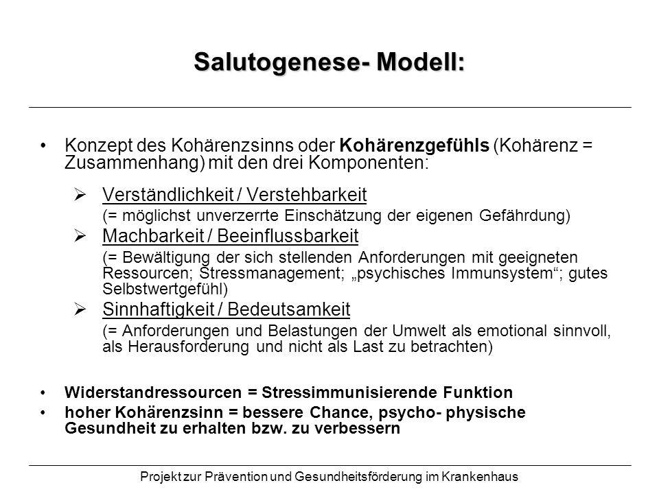 Projekt zur Prävention und Gesundheitsförderung im Krankenhaus Salutogenese- Modell: Konzept des Kohärenzsinns oder Kohärenzgefühls (Kohärenz = Zusamm
