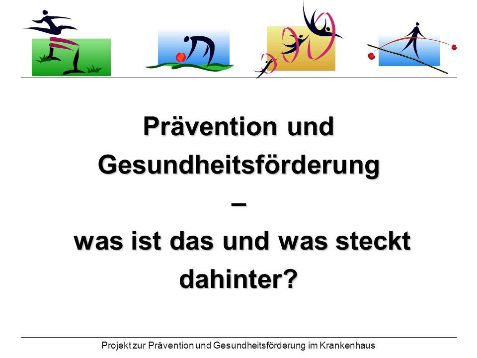 Projekt zur Prävention und Gesundheitsförderung im Krankenhaus Gesundheit und Krankheit - was versteht man darunter und wie werden sie definiert?