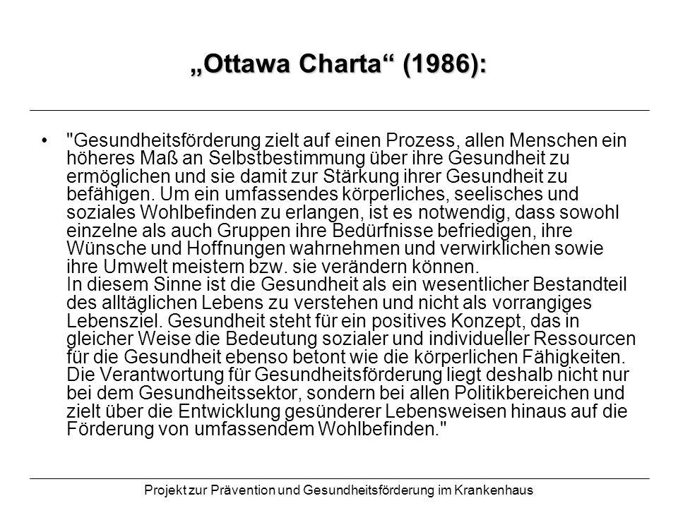 Projekt zur Prävention und Gesundheitsförderung im Krankenhaus Ottawa Charta (1986):