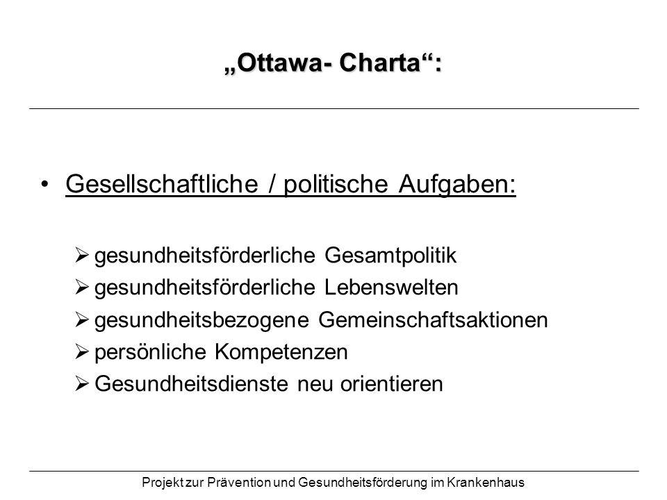 Projekt zur Prävention und Gesundheitsförderung im Krankenhaus Ottawa- Charta: Gesellschaftliche / politische Aufgaben: gesundheitsförderliche Gesamtp