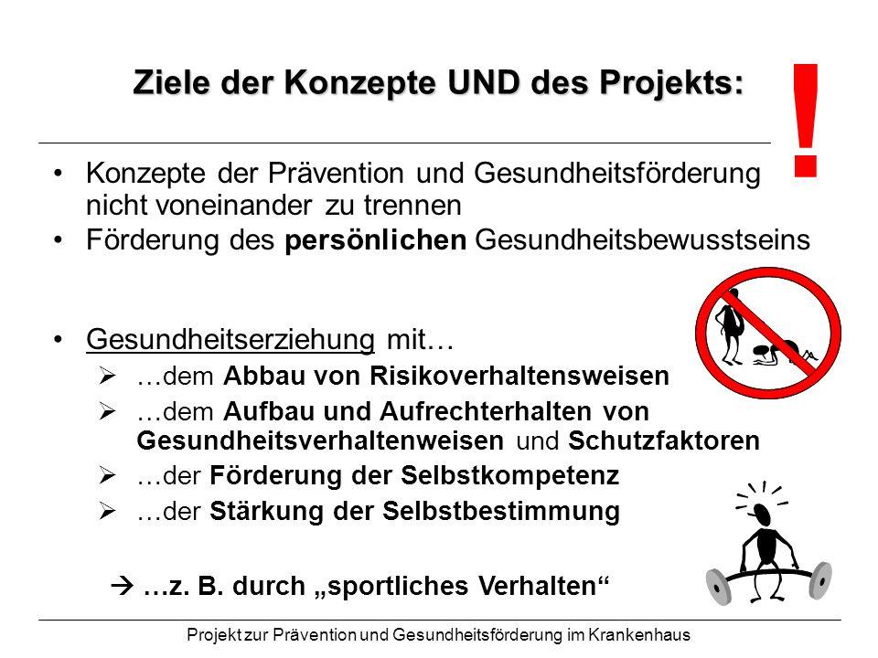 Projekt zur Prävention und Gesundheitsförderung im Krankenhaus Ziele der Konzepte UND des Projekts: Konzepte der Prävention und Gesundheitsförderung s