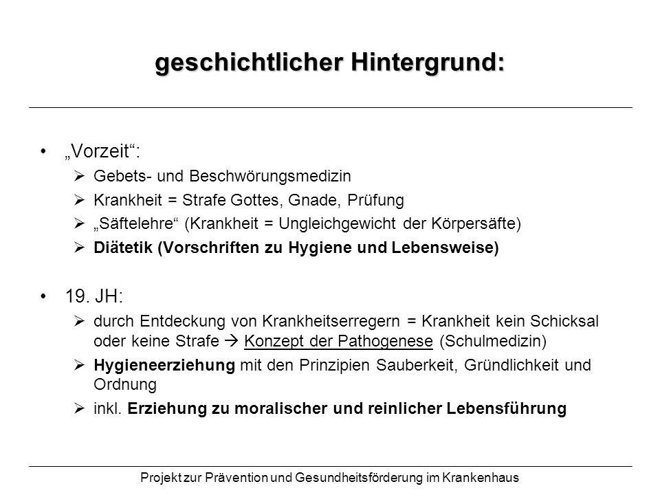 Projekt zur Prävention und Gesundheitsförderung im Krankenhaus geschichtlicher Hintergrund: Vorzeit: Gebets- und Beschwörungsmedizin Krankheit = Straf