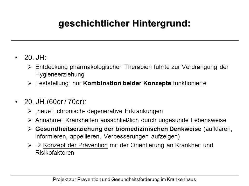 Projekt zur Prävention und Gesundheitsförderung im Krankenhaus geschichtlicher Hintergrund: 20. JH: Entdeckung pharmakologischer Therapien führte zur