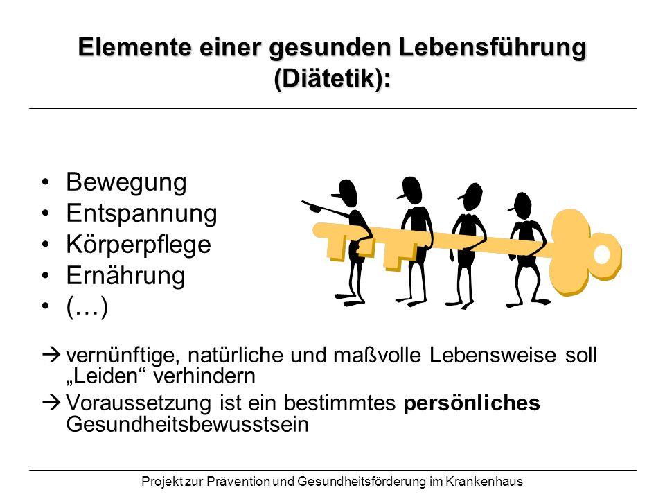 Projekt zur Prävention und Gesundheitsförderung im Krankenhaus Elemente einer gesunden Lebensführung (Diätetik): Bewegung Entspannung Körperpflege Ern