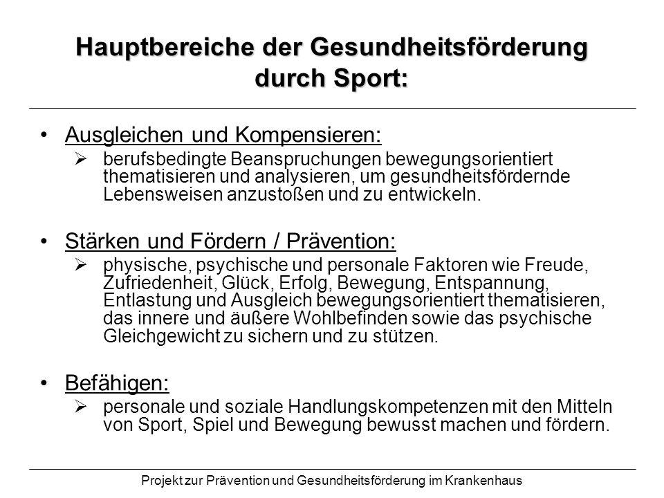 Projekt zur Prävention und Gesundheitsförderung im Krankenhaus Hauptbereiche der Gesundheitsförderung durch Sport: Ausgleichen und Kompensieren: beruf