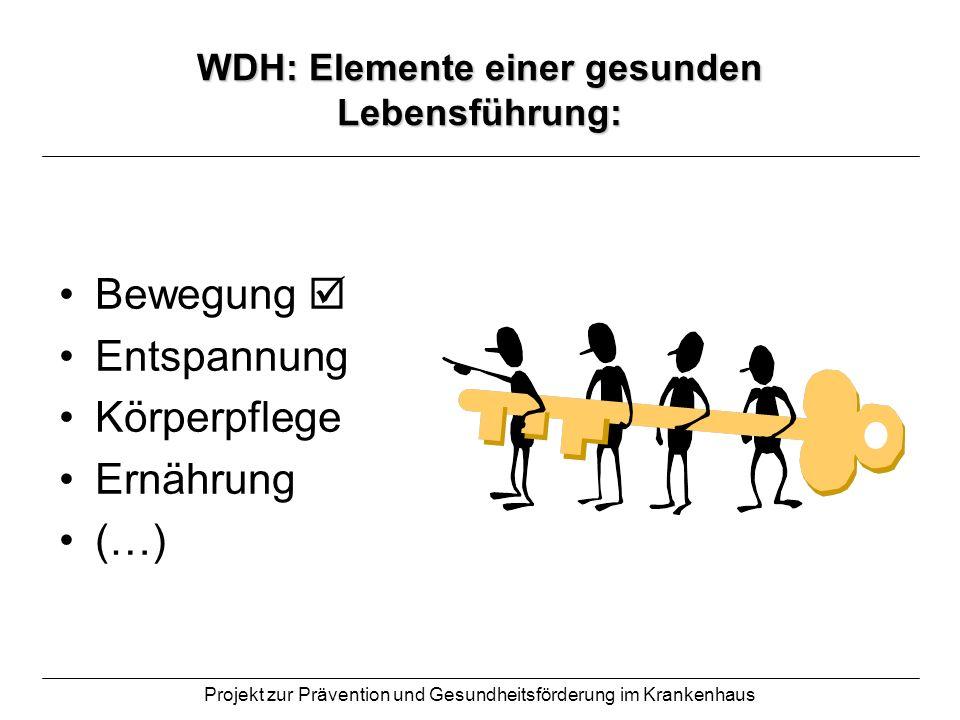 Projekt zur Prävention und Gesundheitsförderung im Krankenhaus WDH: Elemente einer gesunden Lebensführung: Bewegung Entspannung Körperpflege Ernährung
