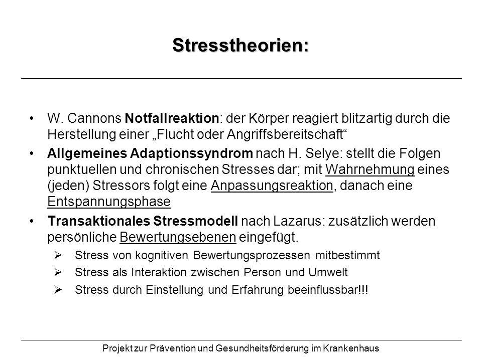Projekt zur Prävention und Gesundheitsförderung im Krankenhaus Stressformen: Eustress Stress der zur Gesunderhaltung des Gesamtorganismus notwendig und gut ist; er garantiert unser Wohlbefinden Distress Stress, der unser Leib-Seele-Gleichgewicht auf Dauer stören und zu psychosomatischen Krankheiten führen kann