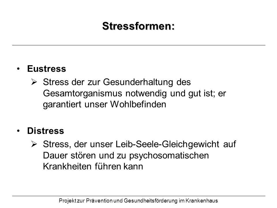 Projekt zur Prävention und Gesundheitsförderung im Krankenhaus Stressformen: Eustress Stress der zur Gesunderhaltung des Gesamtorganismus notwendig un