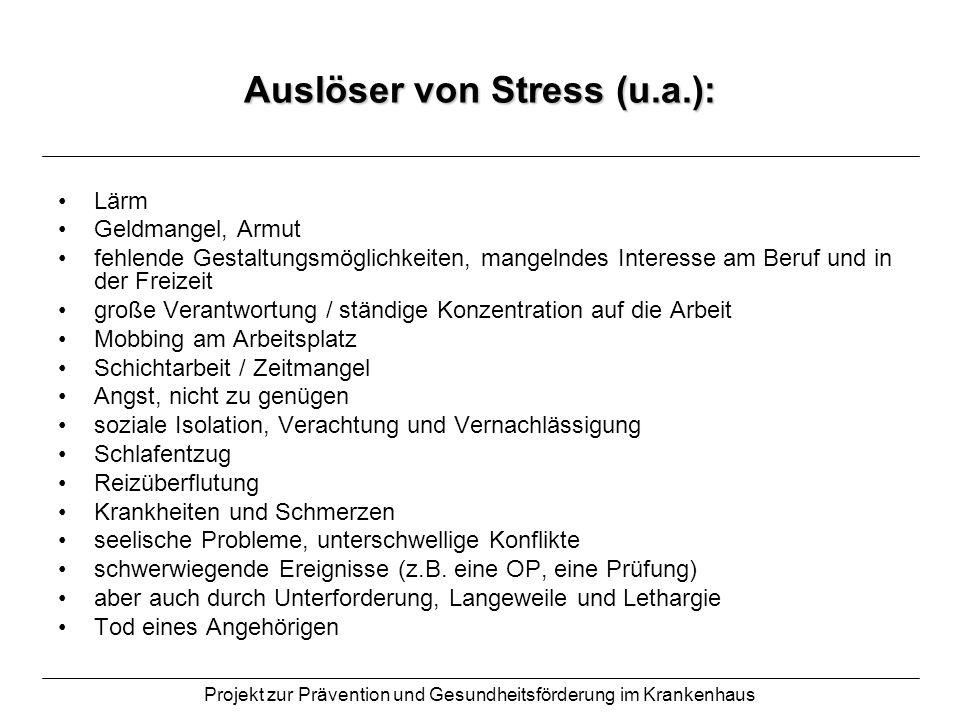 Projekt zur Prävention und Gesundheitsförderung im Krankenhaus Auslöser von Stress (u.a.): Lärm Geldmangel, Armut fehlende Gestaltungsmöglichkeiten, m