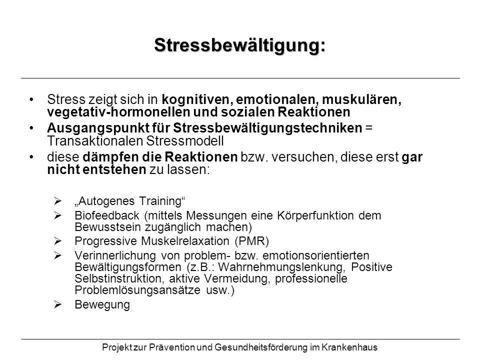 Projekt zur Prävention und Gesundheitsförderung im Krankenhaus Stressbewältigung: Stress zeigt sich in kognitiven, emotionalen, muskulären, vegetativ-
