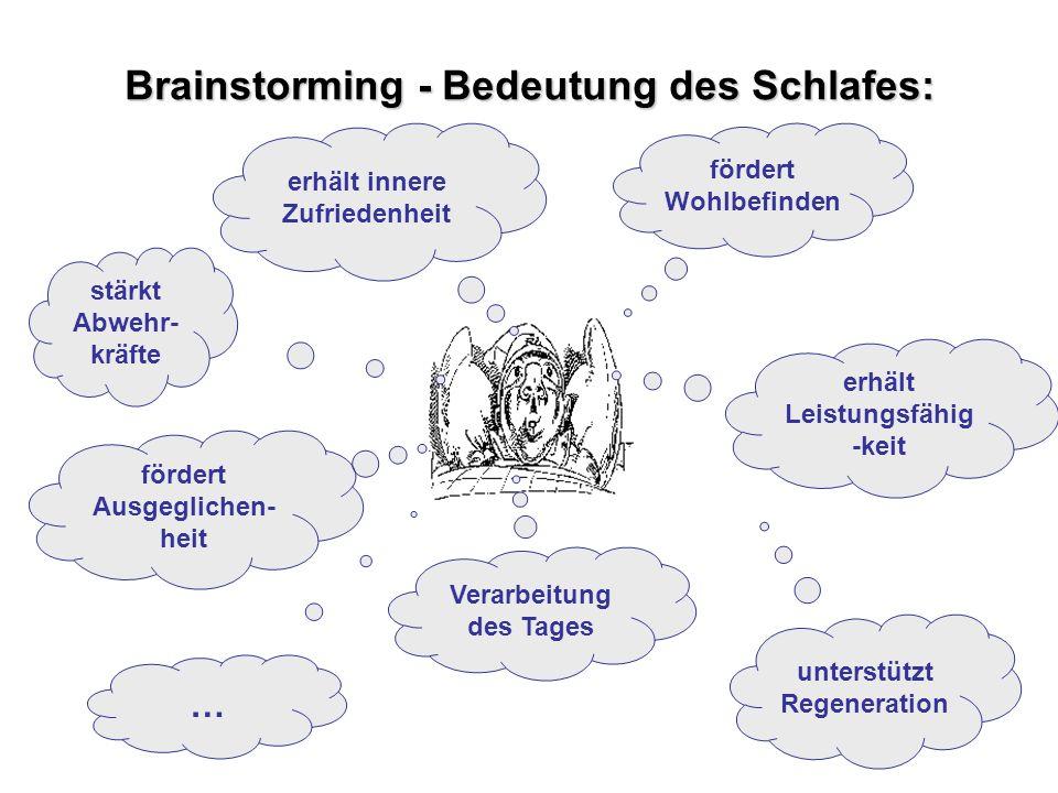 Projekt zur Prävention und Gesundheitsförderung im Krankenhaus Brainstorming - Bedeutung des Schlafes: fördert Wohlbefinden fördert Ausgeglichen- heit