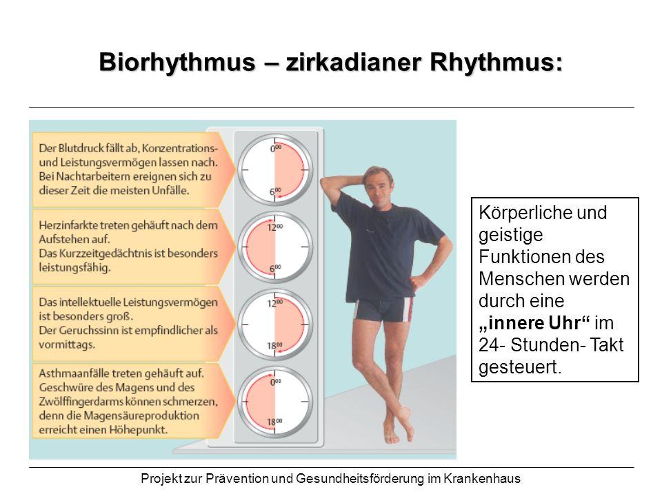 Projekt zur Prävention und Gesundheitsförderung im Krankenhaus Biorhythmus – zirkadianer Rhythmus: Körperliche und geistige Funktionen des Menschen we