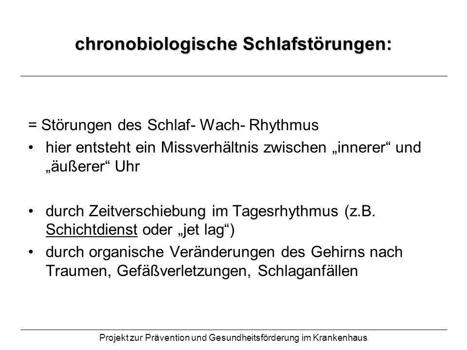 Projekt zur Prävention und Gesundheitsförderung im Krankenhaus Parasomnien (Begleitsymptome): = neben dem Schlaf existierende Erkrankungen / Phänomene: Schlafwandeln Sprechen im Schlaf Nachtangst Alpträume Schlafepilepsie (Myoklonien) Enuresis (Bettnässen) Bruxismus (Zähneknirschen)