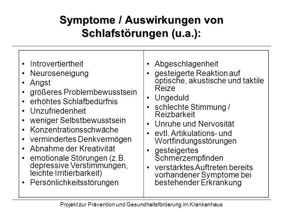 Projekt zur Prävention und Gesundheitsförderung im Krankenhaus Symptome / Auswirkungen von Schlafstörungen (u.a.): Introvertiertheit Neuroseneigung An