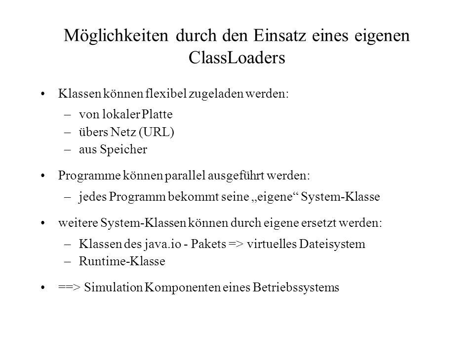 Möglichkeiten durch den Einsatz eines eigenen ClassLoaders Klassen können flexibel zugeladen werden: –von lokaler Platte –übers Netz (URL) –aus Speich