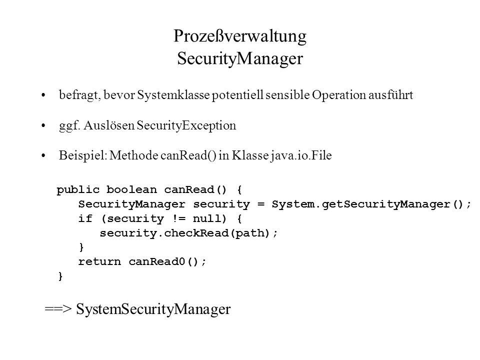 Prozeßverwaltung SecurityManager befragt, bevor Systemklasse potentiell sensible Operation ausführt ggf. Auslösen SecurityException Beispiel: Methode