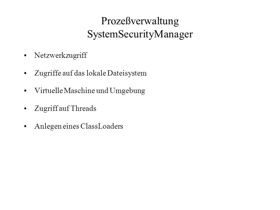 Prozeßverwaltung SystemSecurityManager Netzwerkzugriff Zugriffe auf das lokale Dateisystem Virtuelle Maschine und Umgebung Zugriff auf Threads Anlegen eines ClassLoaders