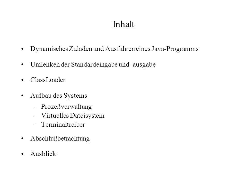 Abschlußbetrachtung Realisiert: –Ausführen von Java-Programmen im Browser –Parallelbetrieb mehrerer Programme –Quellcode ansehen, verändern, speichern Problematisch –Virtuelles Dateisystem –Compilieren von Java-Klassen ==> Java-Compiler in Java geschrieben ==> Quellen von SUN