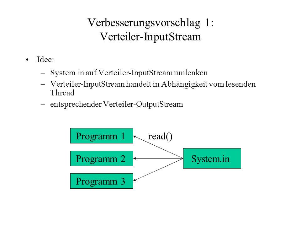 Verbesserungsvorschlag 1: Verteiler-InputStream Idee: –System.in auf Verteiler-InputStream umlenken –Verteiler-InputStream handelt in Abhängigkeit vom lesenden Thread –entsprechender Verteiler-OutputStream Programm 1 Programm 2 Programm 3 System.in read()