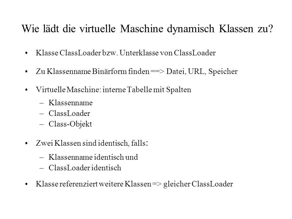 Implementierung ClassLoader Unterklasse der abstrakten Klasse java.lang.ClassLoader Methoden: –implementieren: Class loadClass(String name) –zurückgreifen auf: Class defineClass(String name, byte data[], int offset, int length) void resolveClass(Class c) Class findSystemClass(String name)