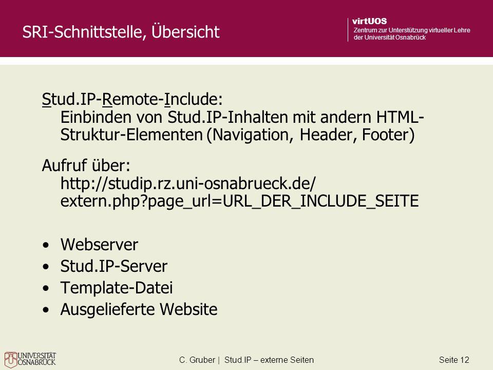 C. Gruber | Stud.IP – externe SeitenSeite 12 virtUOS Zentrum zur Unterstützung virtueller Lehre der Universität Osnabrück SRI-Schnittstelle, Übersicht