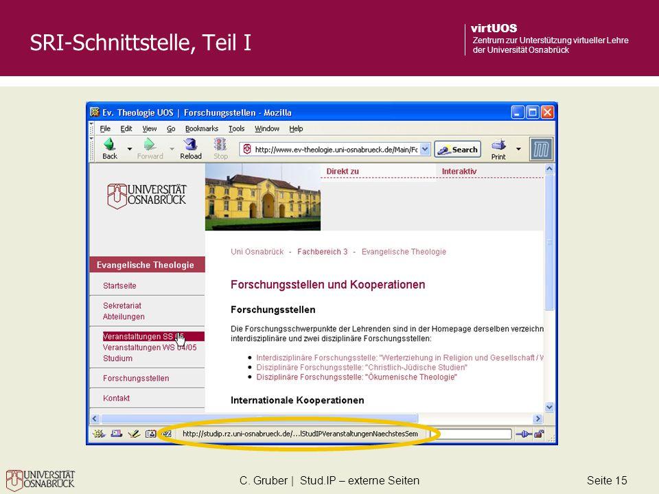 C. Gruber | Stud.IP – externe SeitenSeite 15 virtUOS Zentrum zur Unterstützung virtueller Lehre der Universität Osnabrück SRI-Schnittstelle, Teil I