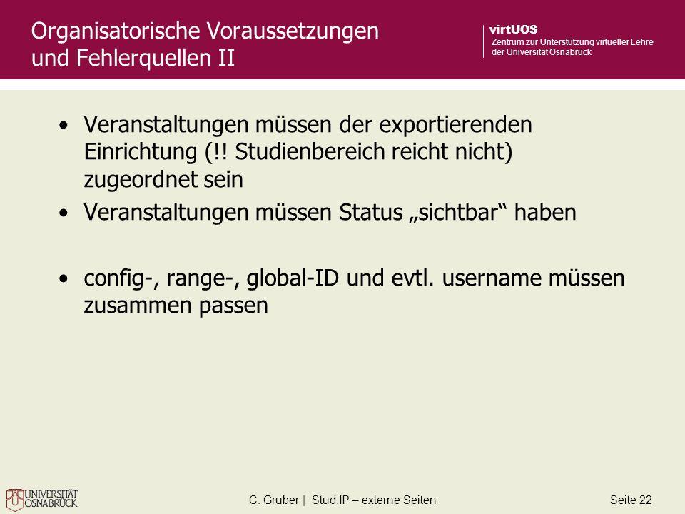 C. Gruber | Stud.IP – externe SeitenSeite 22 virtUOS Zentrum zur Unterstützung virtueller Lehre der Universität Osnabrück Organisatorische Voraussetzu