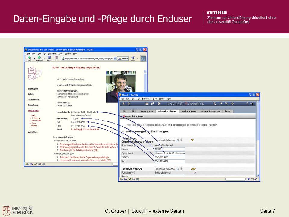 C. Gruber | Stud.IP – externe SeitenSeite 7 virtUOS Zentrum zur Unterstützung virtueller Lehre der Universität Osnabrück Daten-Eingabe und -Pflege dur