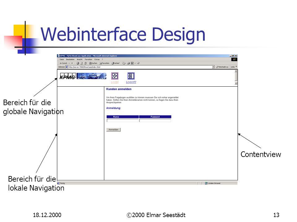 18.12.2000©2000 Elmar Seestädt13 Webinterface Design Bereich für die lokale Navigation Bereich für die globale Navigation Contentview