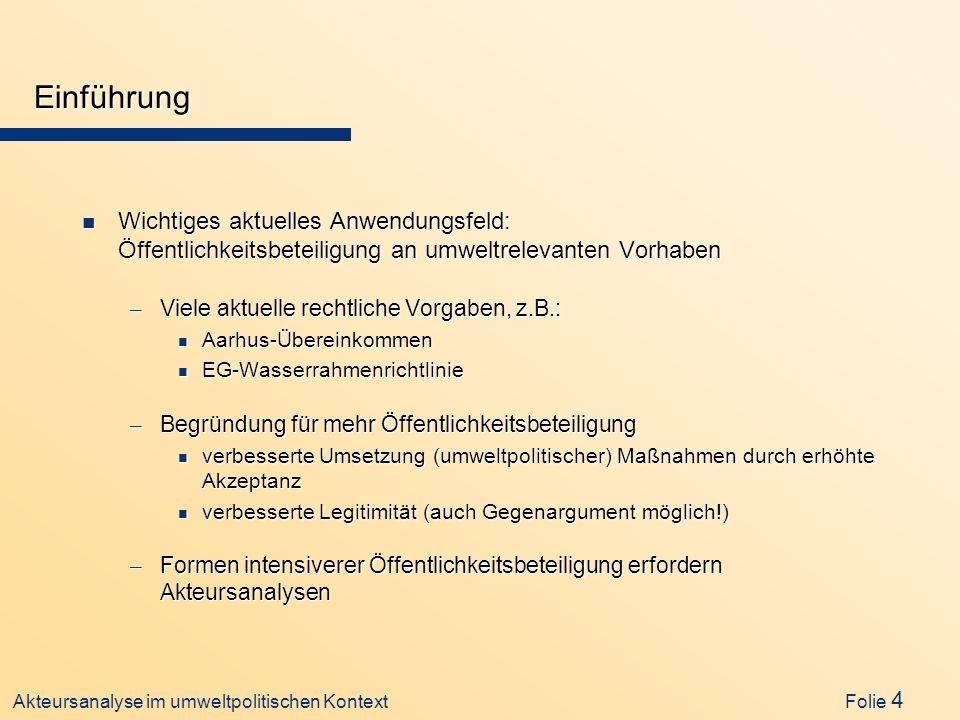 Akteursanalyse im umweltpolitischen Kontext Folie 4 Einführung n Wichtiges aktuelles Anwendungsfeld: Öffentlichkeitsbeteiligung an umweltrelevanten Vo