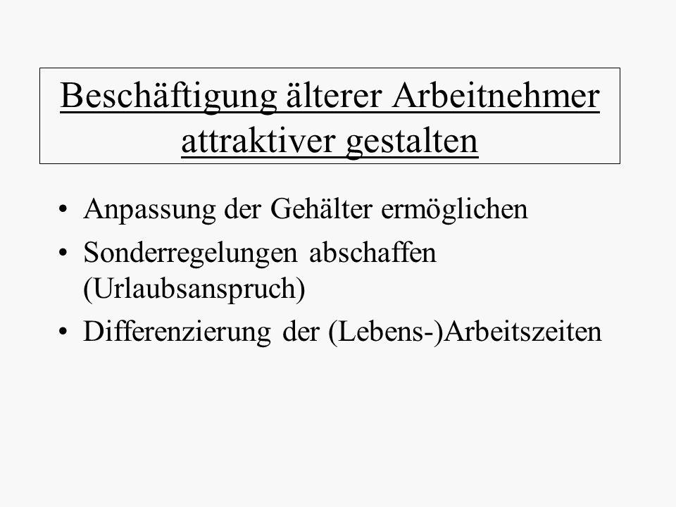 Beschäftigung älterer Arbeitnehmer attraktiver gestalten Anpassung der Gehälter ermöglichen Sonderregelungen abschaffen (Urlaubsanspruch) Differenzier