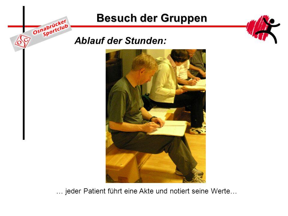Besuch der Gruppen Ablauf der Stunden: … jeder Patient führt eine Akte und notiert seine Werte…