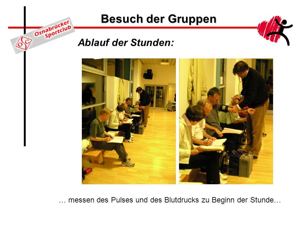 Besuch der Gruppen Ablauf der Stunden: … messen des Pulses und des Blutdrucks zu Beginn der Stunde…