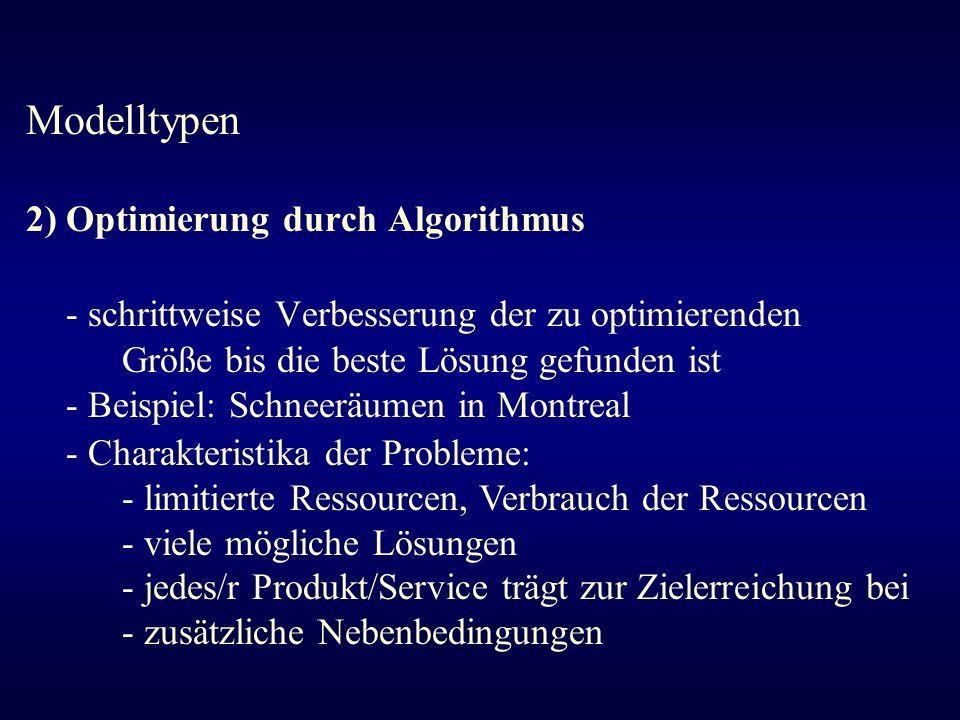Modelltypen 2) Optimierung durch Algorithmus - schrittweise Verbesserung der zu optimierenden Größe bis die beste Lösung gefunden ist - Beispiel: Schn