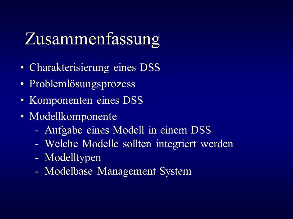 Zusammenfassung Charakterisierung eines DSS Problemlösungsprozess Komponenten eines DSS Modellkomponente - Aufgabe eines Modell in einem DSS - Welche