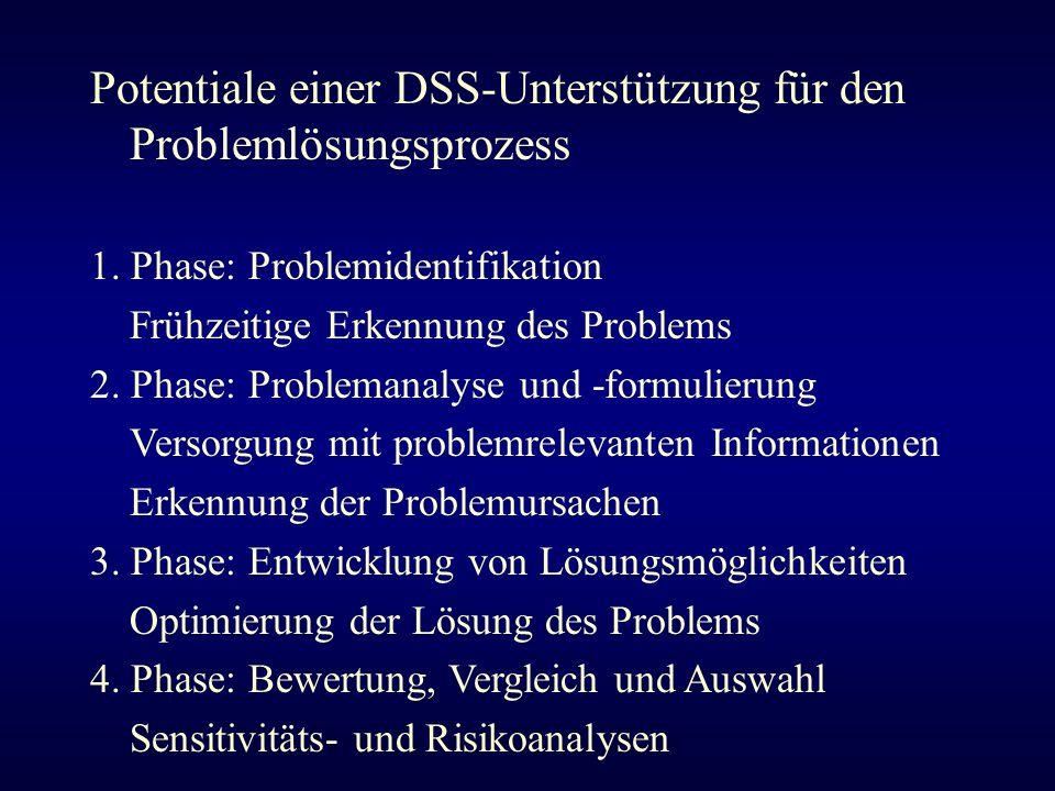 Potentiale einer DSS-Unterstützung für den Problemlösungsprozess 1. Phase: Problemidentifikation Frühzeitige Erkennung des Problems 2. Phase: Problema