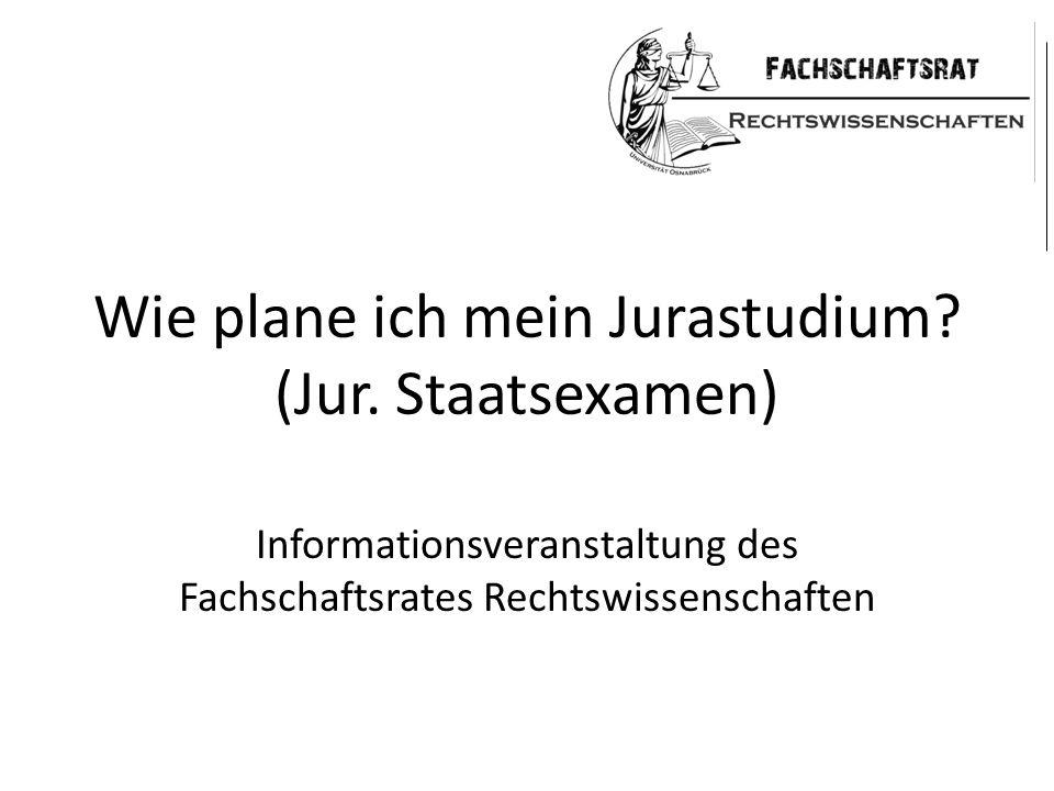 Wie plane ich mein Jurastudium? (Jur. Staatsexamen) Informationsveranstaltung des Fachschaftsrates Rechtswissenschaften
