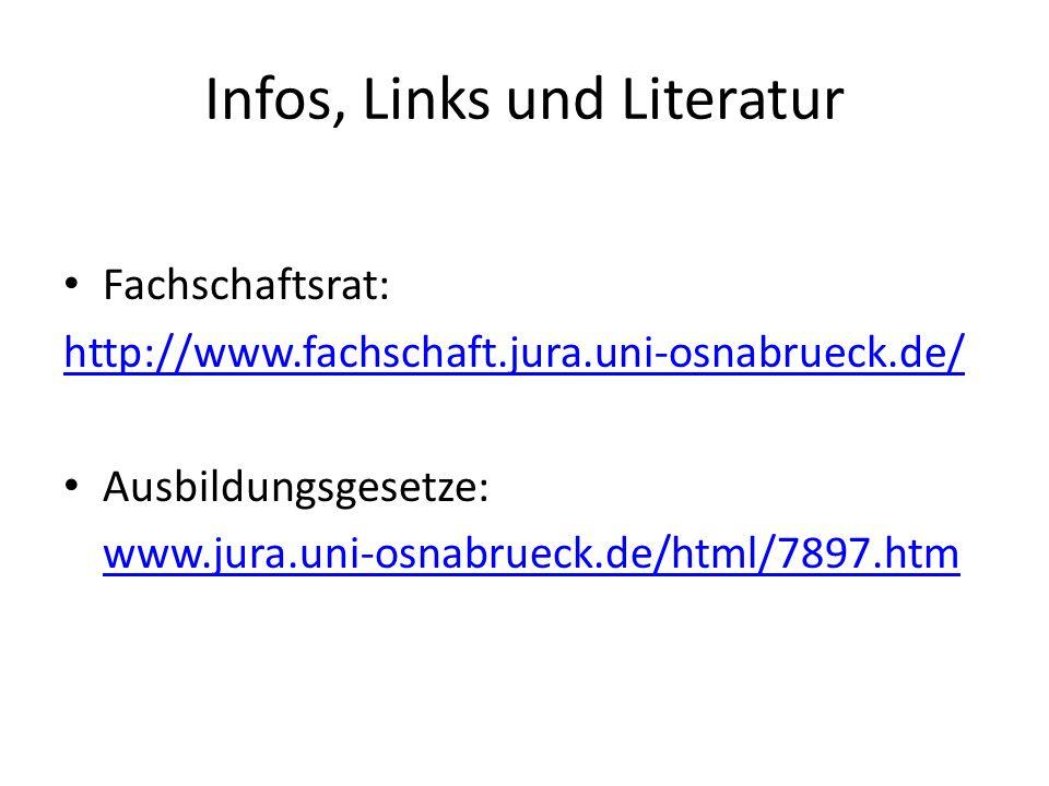Infos, Links und Literatur Fachschaftsrat: http://www.fachschaft.jura.uni-osnabrueck.de/ Ausbildungsgesetze: www.jura.uni-osnabrueck.de/html/7897.htm