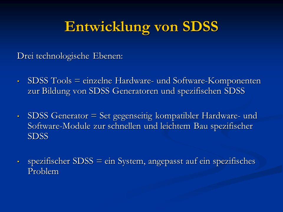 Entwicklung von SDSS Drei technologische Ebenen: SDSS Tools = einzelne Hardware- und Software-Komponenten zur Bildung von SDSS Generatoren und spezifi