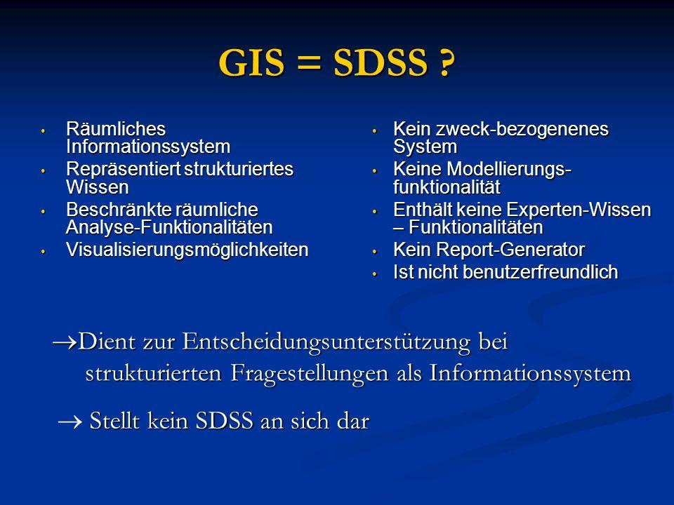 GIS = SDSS ? Räumliches Informationssystem Räumliches Informationssystem Repräsentiert strukturiertes Wissen Repräsentiert strukturiertes Wissen Besch