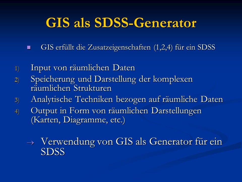 GIS als SDSS-Generator GIS erfüllt die Zusatzeigenschaften (1,2,4) für ein SDSS GIS erfüllt die Zusatzeigenschaften (1,2,4) für ein SDSS 1) Input von