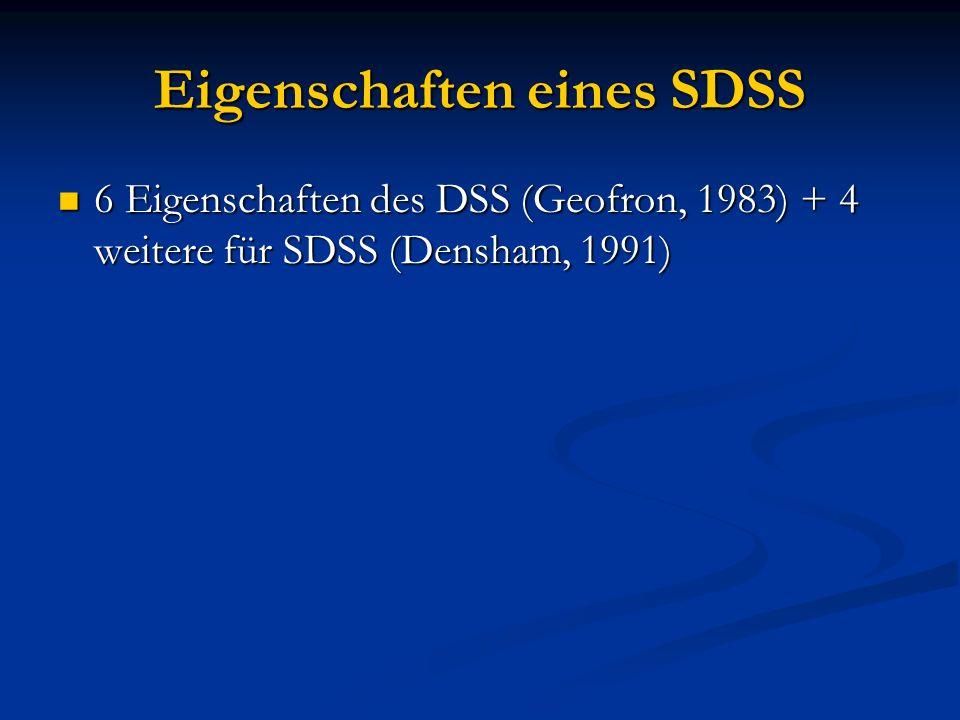 Eigenschaften eines SDSS 6 Eigenschaften des DSS (Geofron, 1983) + 4 weitere für SDSS (Densham, 1991) 6 Eigenschaften des DSS (Geofron, 1983) + 4 weit