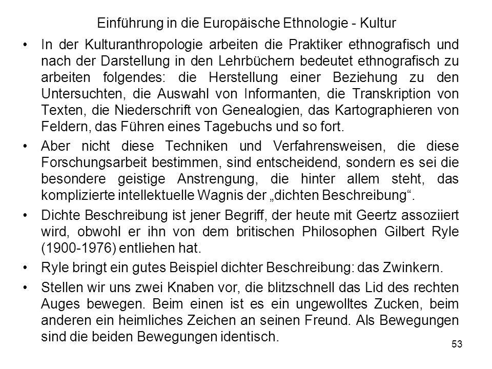54 Einführung in die Europäische Ethnologie - Kultur Es besteht jedoch ein gewichtiger Unterschied zwischen Zucken und Zwinkern.