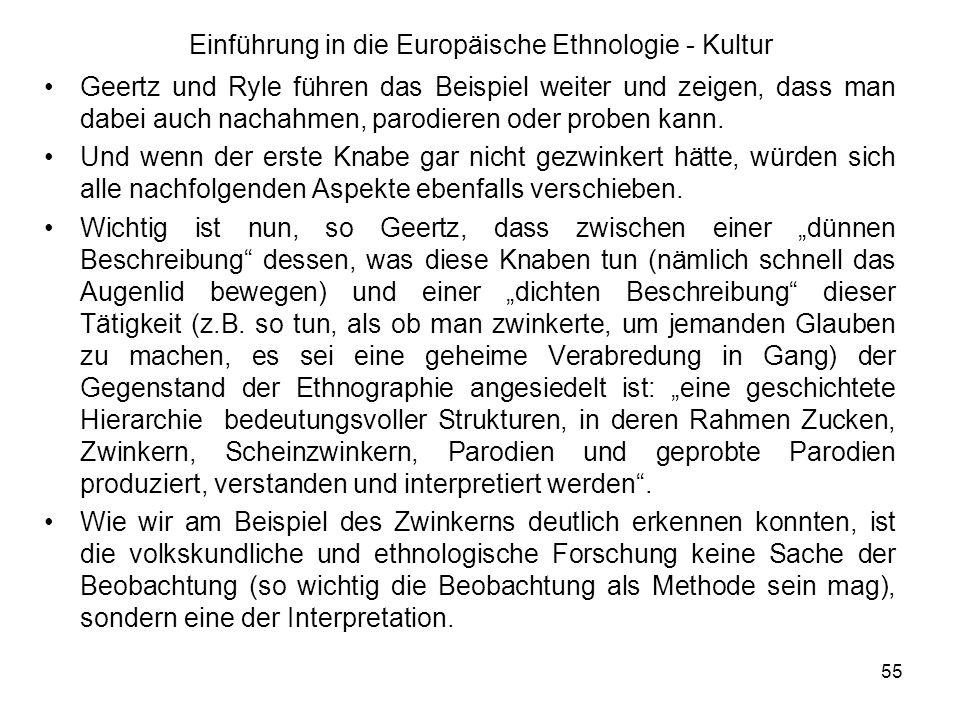 55 Einführung in die Europäische Ethnologie - Kultur Geertz und Ryle führen das Beispiel weiter und zeigen, dass man dabei auch nachahmen, parodieren oder proben kann.
