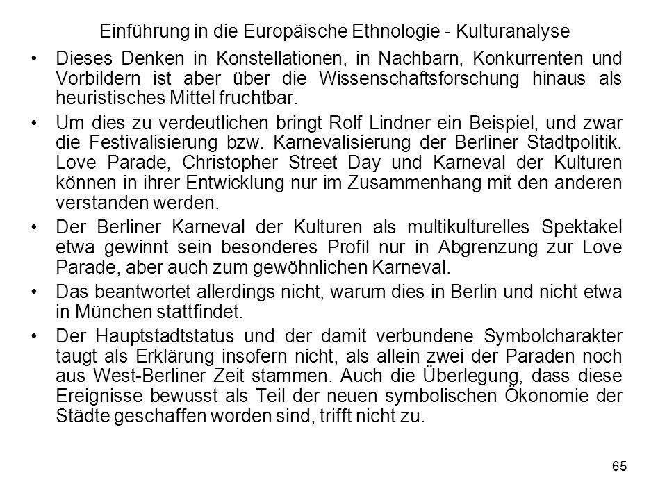 65 Einführung in die Europäische Ethnologie - Kulturanalyse Dieses Denken in Konstellationen, in Nachbarn, Konkurrenten und Vorbildern ist aber über die Wissenschaftsforschung hinaus als heuristisches Mittel fruchtbar.