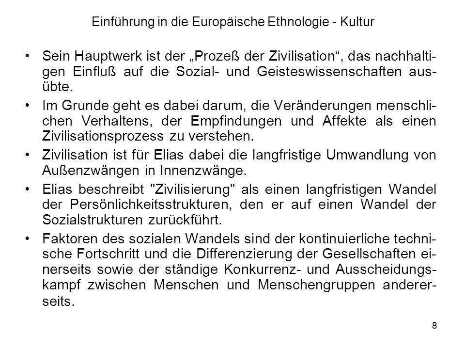 8 Einführung in die Europäische Ethnologie - Kultur Sein Hauptwerk ist der Prozeß der Zivilisation, das nachhalti- gen Einfluß auf die Sozial- und Geisteswissenschaften aus- übte.