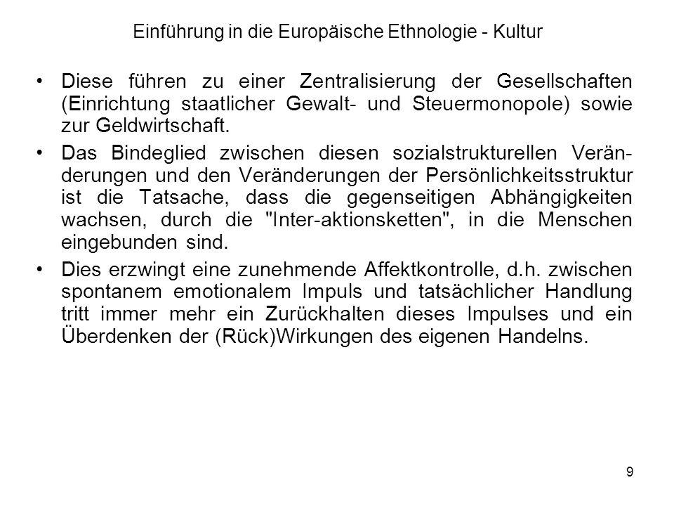 10 Einführung in die Europäische Ethnologie - Kultur Das hat verschiedene Folgen: das Sinken der Gewaltbereitschaft; das Vorrücken der Schamschwellen ; das Vorrücken der Peinlichkeitsschwellen ; eine Psychologisierung , d.h.