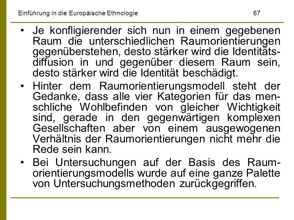 Einführung in die Europäische Ethnologie67 Je konfligierender sich nun in einem gegebenen Raum die unterschiedlichen Raumorientierungen gegenüberstehe