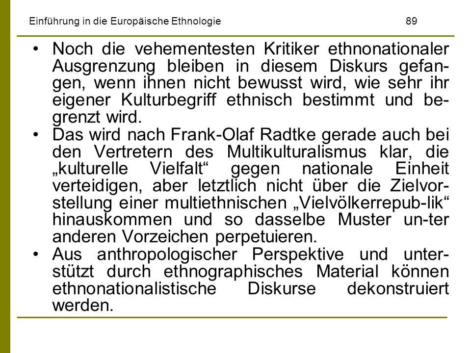 Einführung in die Europäische Ethnologie89 Noch die vehementesten Kritiker ethnonationaler Ausgrenzung bleiben in diesem Diskurs gefan- gen, wenn ihne