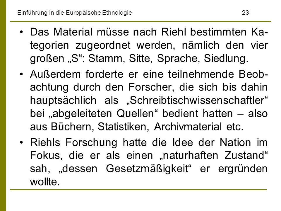 Einführung in die Europäische Ethnologie 23 Das Material müsse nach Riehl bestimmten Ka- tegorien zugeordnet werden, nämlich den vier großen S: Stamm, Sitte, Sprache, Siedlung.